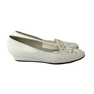 Selby White Leather Platform Loafers Vintage Shoes